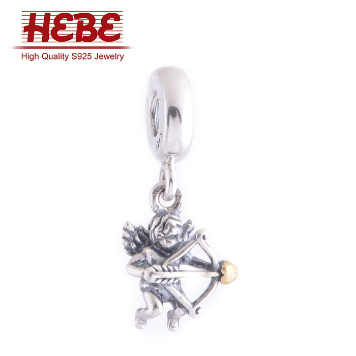 New 2014 Cupid charm 925 sterling pendants for jewelry making angel design LW345(China (Mainland))
