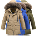 2016 New Children s Clothing Boys Down Parka Coats Winter Long Mandarin Collar Hoded Thick Warm