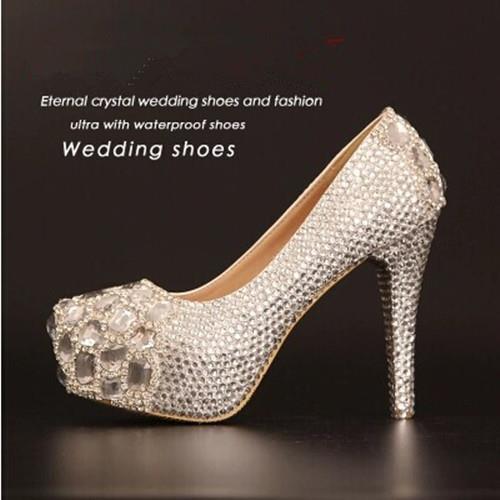 2015 new fashion design crystal Women wedding shoes bridal genuine leather high white diamond pupms 599