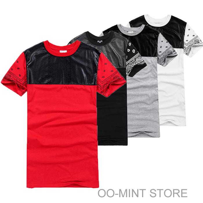 Long PU Side Zipper Leather Man Clothing Swag Designer Bandana Skateboard Tyga Pollo Hip Hop T-shirt Shirts Men Women Red/black(China (Mainland))