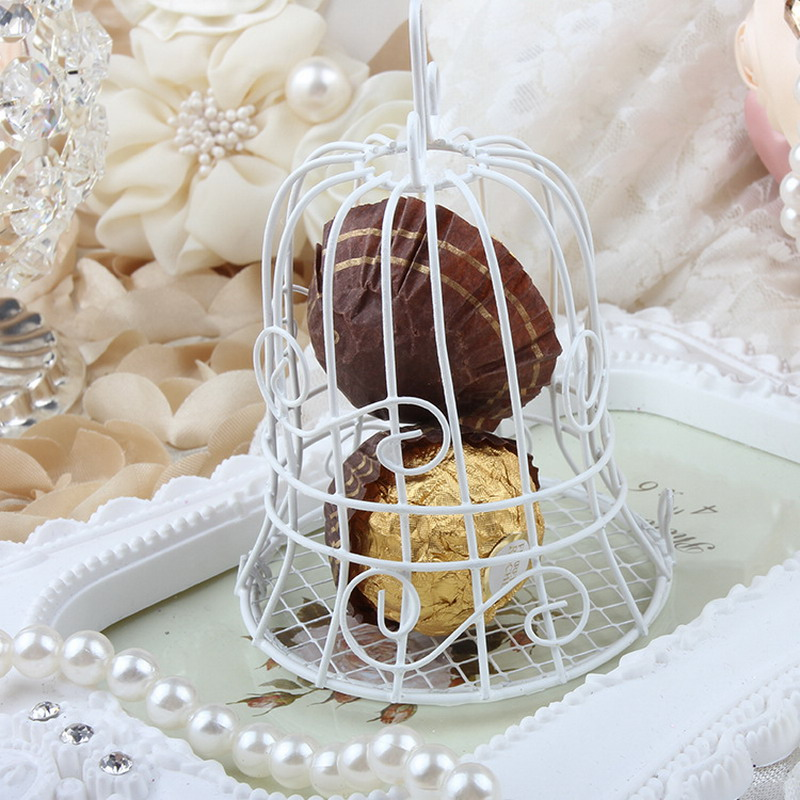 New Luxe White Bird Cage Wedding Party Gift Box Favor Metal Candy Chocolate Flower Decor VBT66 P0.4(China (Mainland))