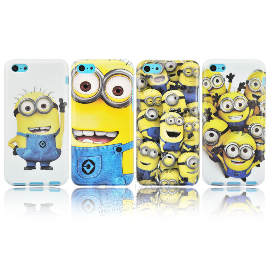 New arrival cute cartoon model Soft TPU material Despicable Me Yellow Minion Cover for iphone Case for iphone 5C PT1071(China (Mainland))