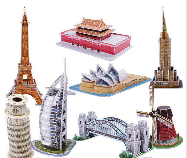 3D Jigsaw Puzzles Kids Educational Toys DIY Paper mini Famous architecture Construction For Children Adults(wxt017)(China (Mainland))