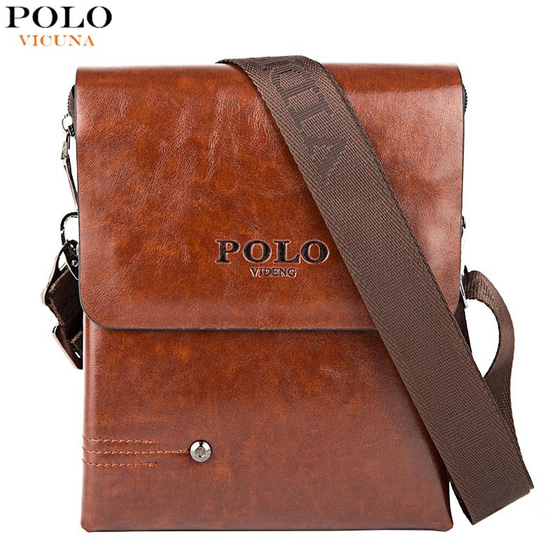 VICUNA POLO Unique Rivet Decoration Men's Leather Bag Multideck High Volume Men Messenger Bag Casual Small Crossbody Bag For Man(China (Mainland))