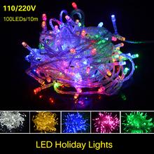 220 V/110 V Vacanza Fata String RGB luce Di Natale Festa di Nozze Decorazione Della lampada 10 m 100led LED lampadina kerstverlichting()