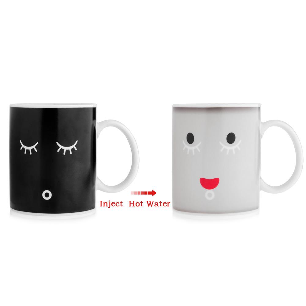 350ML Morning Mug magic color change coffee tea ceramic cup Black colour smile face black white birthday gift love present(China (Mainland))