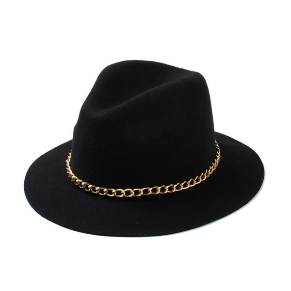 2015 New Fashionable Women 100% Wool Black Burgundy Red Fedora Hat With Gold Chain For Ladies(China (Mainland))
