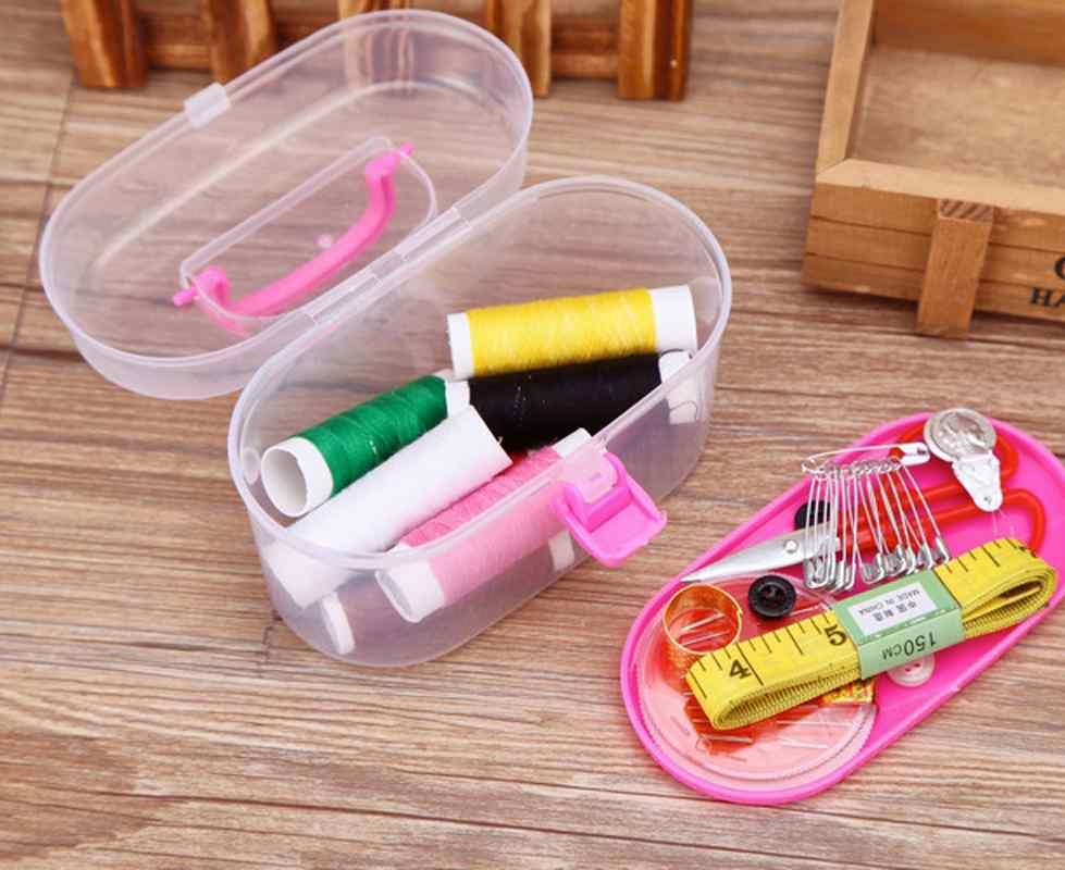 Practical Home Use Sewing Kit Thread Threader Needle Tape Storage Box Measure Scissor Thimble Box(China (Mainland))