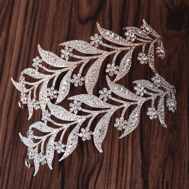 Crystal leaves Vine Wedding Headband Hair Accessories Bridal Head Tiaras Hair Jewelry Women wedding crowns