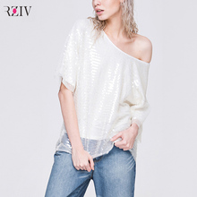 2015  fashion luxury sequined shirt loose boat neck white female wild simplicity sleeve T-shirt(China (Mainland))