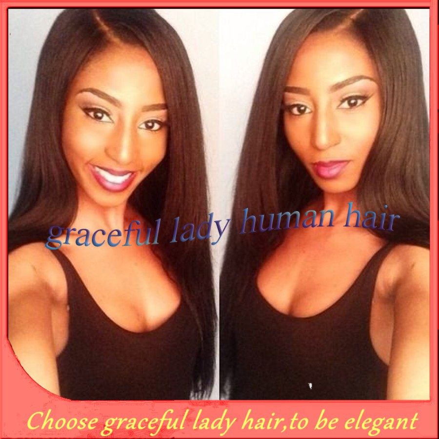 Queen hair products natural black straight 100% virgin malaysian middle U part wigs human hair for black women