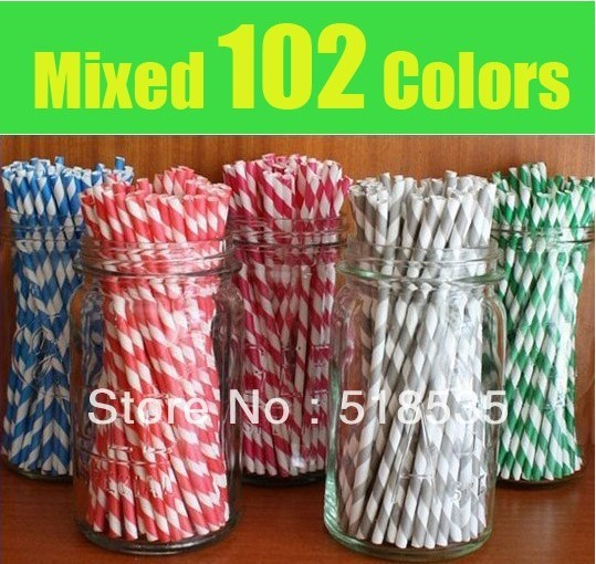On sale now! 1000pcs/lot & 25pcs & 102 colors Paper straws of stripe pink,red,black,yellow,polka dot,Chevron pattern,Star