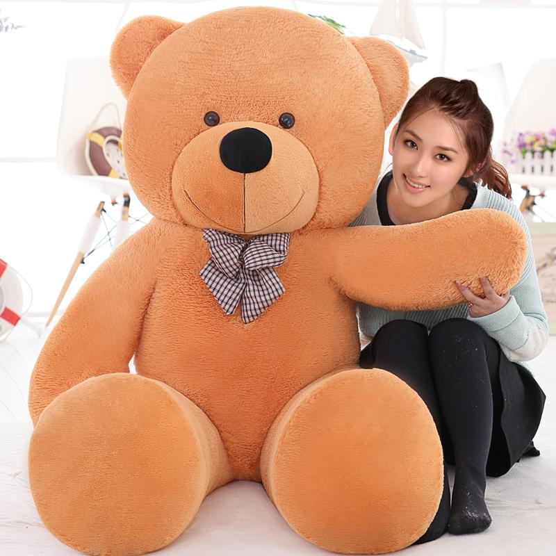 Giant teddy bear 220cm/2.2m large big stuffed animals plush life size soft kids toys children baby dolls for girls gift(China (Mainland))