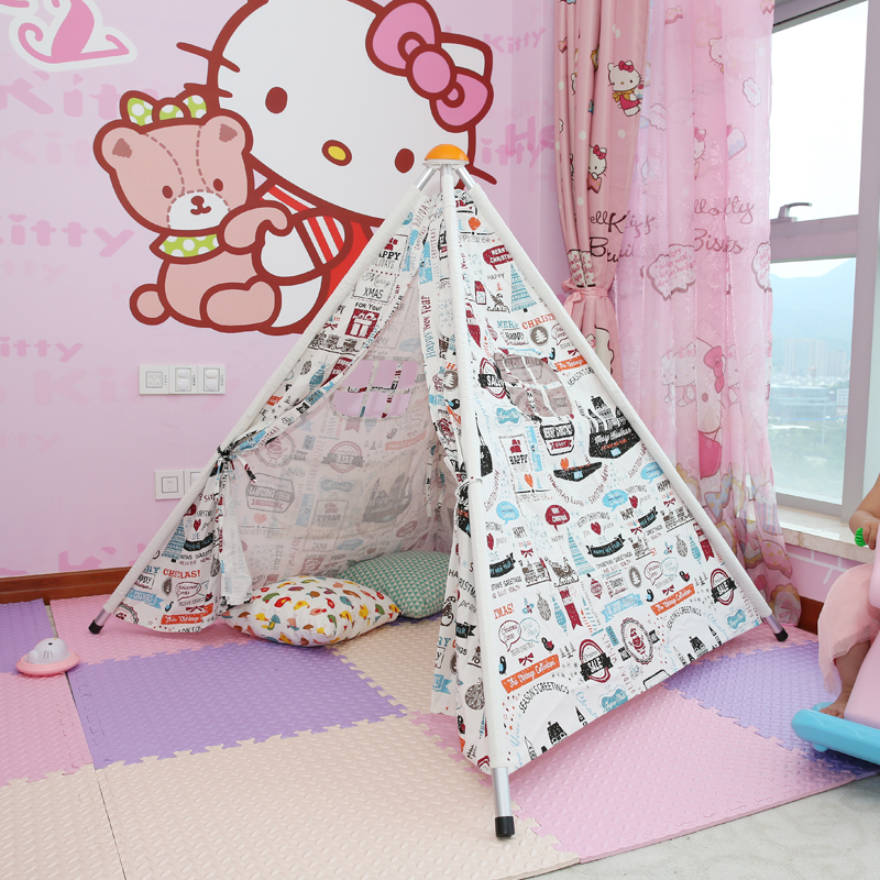 2016 New Four Poles Children Teepees Kids Play Tent Cotton Canvas Teepee White Playhouse for Baby Room Tipi(China (Mainland))