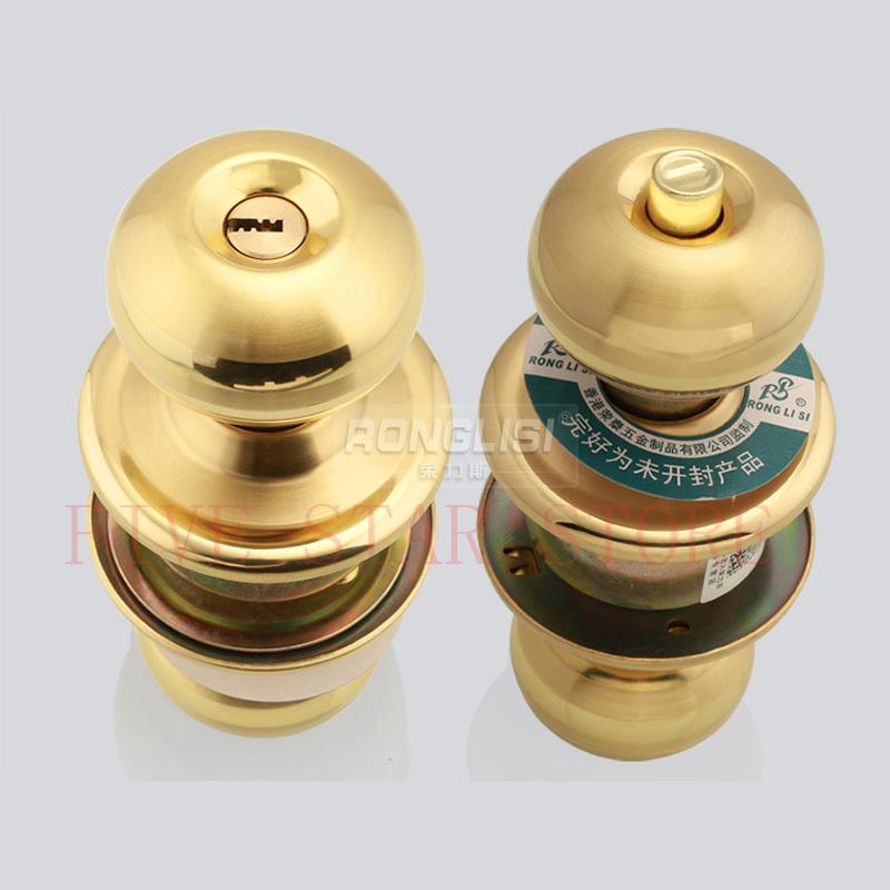 2set/lot High Quality Stainless Steel Cylindrical Door Lock Bedroom Washroom Bathroom Knob Lock gold silver colors knob lockset(China (Mainland))