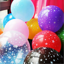 12 Colors 100pcs/lot Five-pointed star printed balloon 12Inch Transparent balloon Latex round Wending Birthday Party Decorative(China (Mainland))