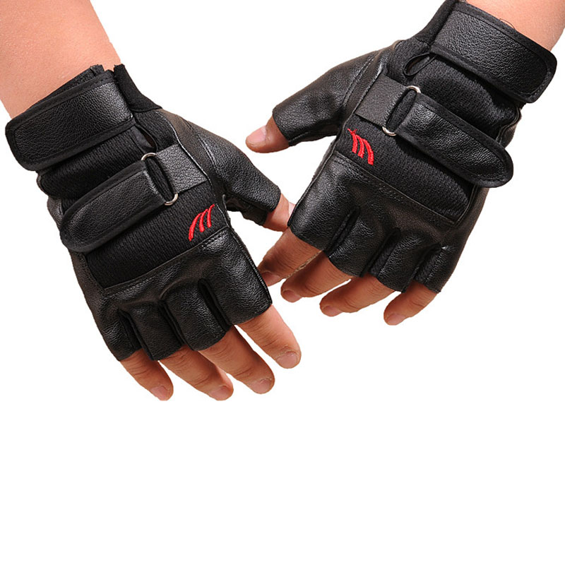 Weight Lifting Gloves Leather Fitness Gym Training Workout: Weight Lifting Leather Padded Gym Training Exercise