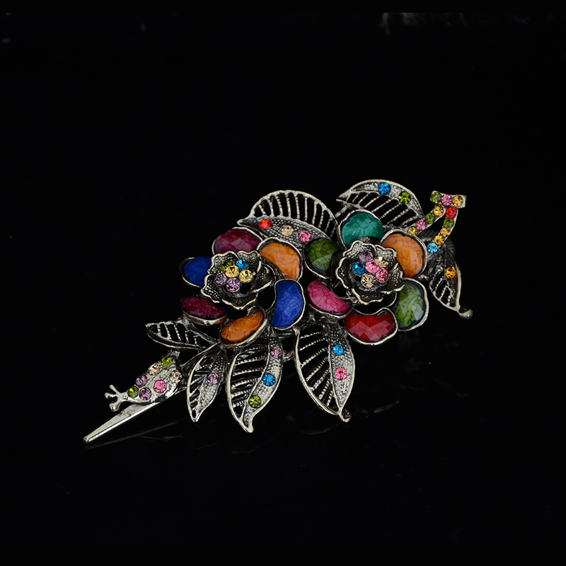 2016 Hot Sale Hollow Leaf Hairpins Flower Crystal Rhinestone rose Hair Pin Clip For Women Hair Jewelry CF472(China (Mainland))