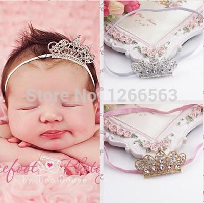 Fashion Rhinestone Princess Crown Headband Infant Headbands Baby Girl Elastic Hairband Baby Hair Accessories Tiara De Cabelo(China (Mainland))