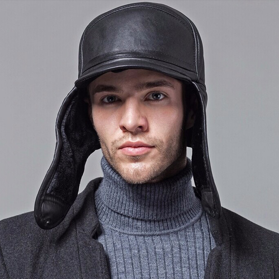 Wholesale-New 2016 Winter Hats For Men leather Warm Fur Hat Aviator Cap With Ear Flaps Russian Hat Men Leifeng Beanies Hot sell(China (Mainland))