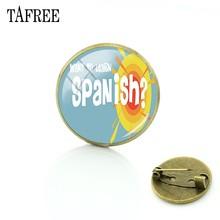 Tafree Bahasa Spanyol Kaca Seni Pin Bawah Merah Mencolok Bros HOLA Huruf Kata-kata Indah Lencana Elegan Menawan Perhiasan SA06(China)