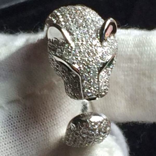 Panther Head Style 18K White Gold Female Finger Ring Bronze Synthetic Diamond Women Animal Style Engagement Finger Ring(China (Mainland))