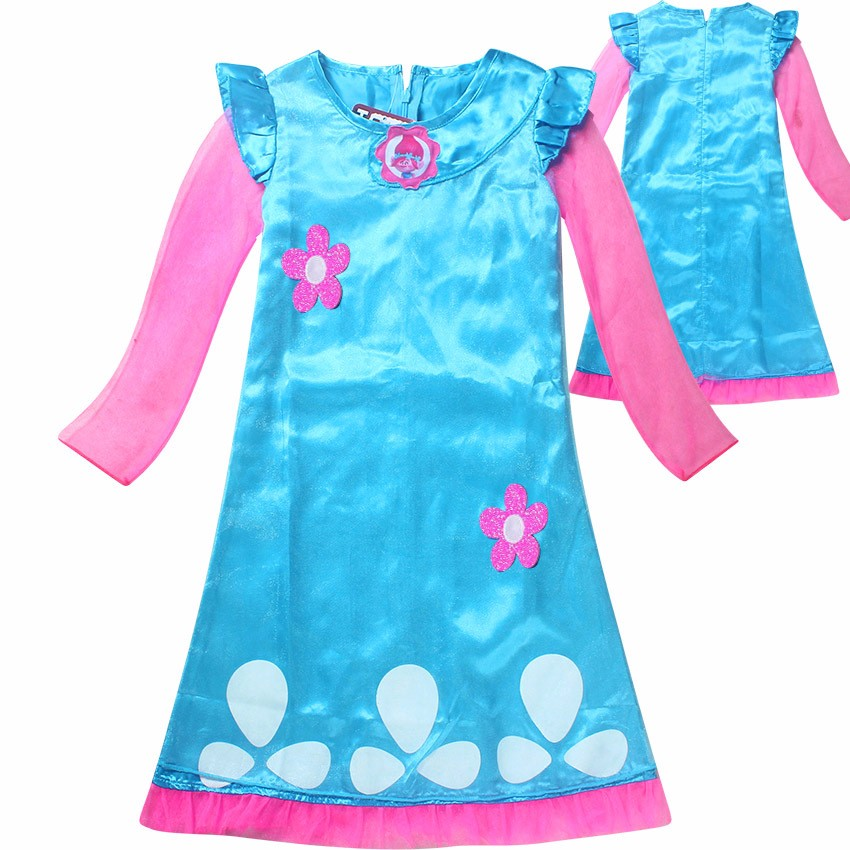TROLLS Girls Dress Christmas Princess Dresses For Girls Cartoon Cotton Children Cosplay Knee Length Dresses Kids Clothing 2017