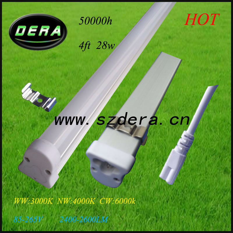 50pcs/lot 4ft 28W dimmable led,1200m T5 fluorescent light fixtures 3pin 110V/240V 2600lm t5 tube lighting,t5 belt Free shipping(China (Mainland))
