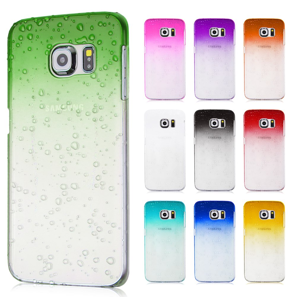 Fashion Water Drop Transparent Crystal Plastic Case Cover For Samsung Galaxy S6 Edge SM-G925(China (Mainland))