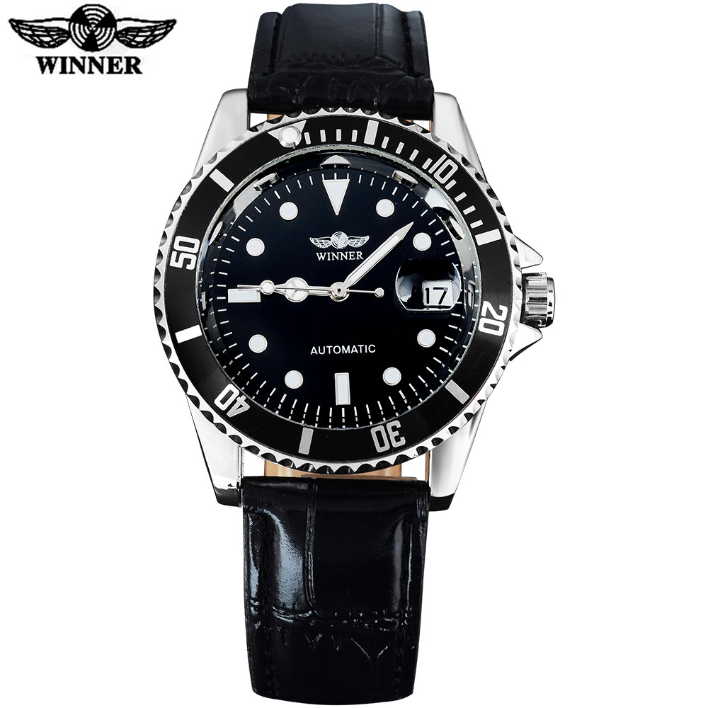 2016 WINNER popular brand men luxury automatic self wind watches creative case black dial transparent glass leather band<br><br>Aliexpress
