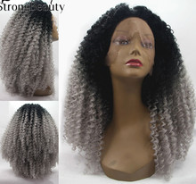 Buy Ombre Black Grey Afro Kinky Curly Wigs Women Synthetic Lace Front Wigs Long Natural Black/Auburn Heat Resistant Hair Wig for $68.86 in AliExpress store