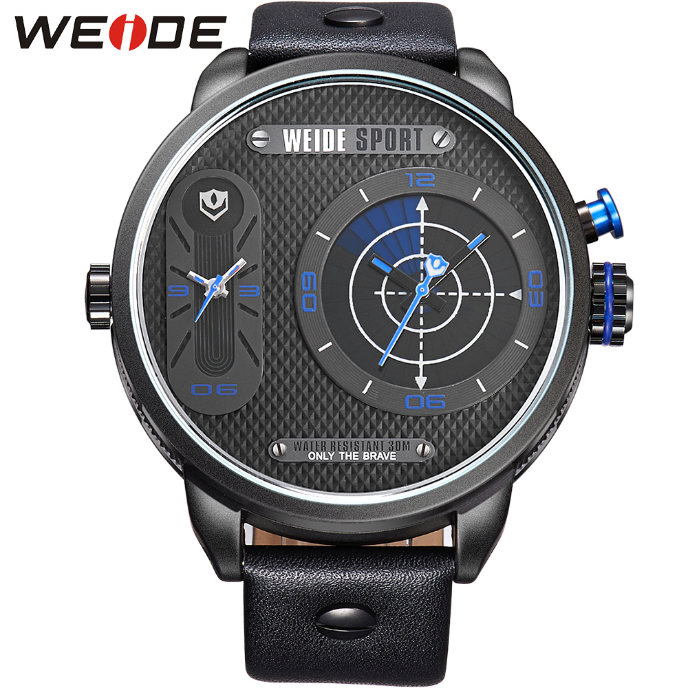 New Fashion WEIDE Male Clock Stainless Steel Case Analog Display Men Quartz Leather Strap Military Watches Men Luxury Brand <br><br>Aliexpress
