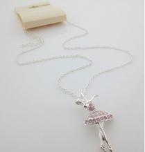 girls dance ballet pink resin stone pendant necklace nice elegance jewelry