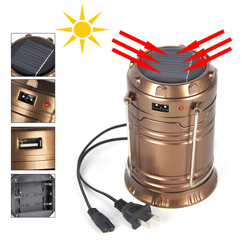 New Ultra Bright Portable LED Camping Lantern Solar Flashlights Outdoor Camping Equipment (Copper, Collapsible)(China (Mainland))