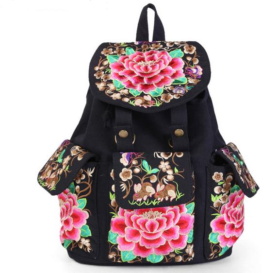 Free Shipping Women Fashion Chinese National Wind Backpacks Girl New Trend Embroidery Bags Student Soft Handle Bag Lady Softback<br>