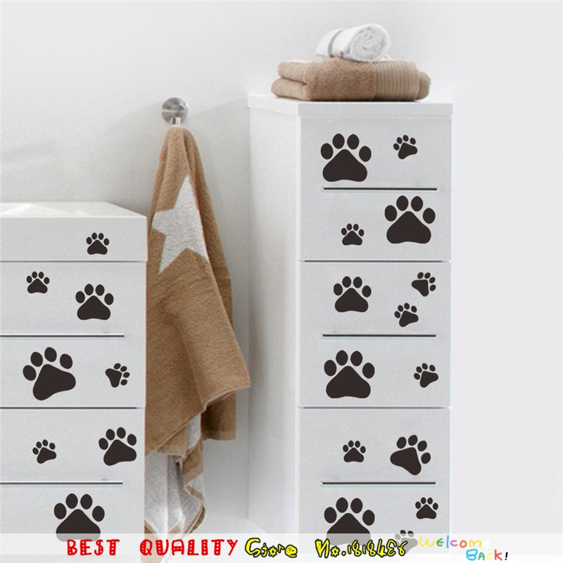 Dog Cat Bear Paw Print Wall Stickers Home Decoration Wall Decals Self Adhesive WallPaper Craft Summer Style Poster Kids Room(China (Mainland))