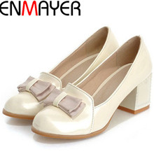 ENMAYER Spring/autumn Round Toe Bowtie Women Pumps Fashion Sexy High Heels Shoes Womens Platform Pumps Slip-on Women Shoes(China (Mainland))