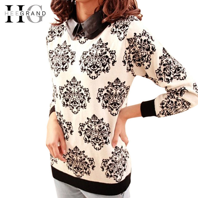 Женщин свитер зимой и осенью свободного покроя цветочные тонкий Tricotado вязаный ...