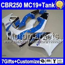 7gifts+Tank HONDA MC19 CBR250RR blue white 86 87 88 89 CBR250 RR M976 CBR 250RR NEW black 1986 1987 1988 1989 Fairing - Motomarkets store