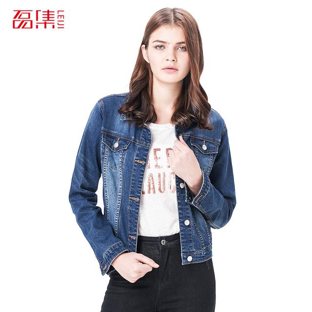 Leiji Модный S 6XL 2015 Plus Размер Женщины winter Сплошной Синий Хлопок Джинса Jacket ...
