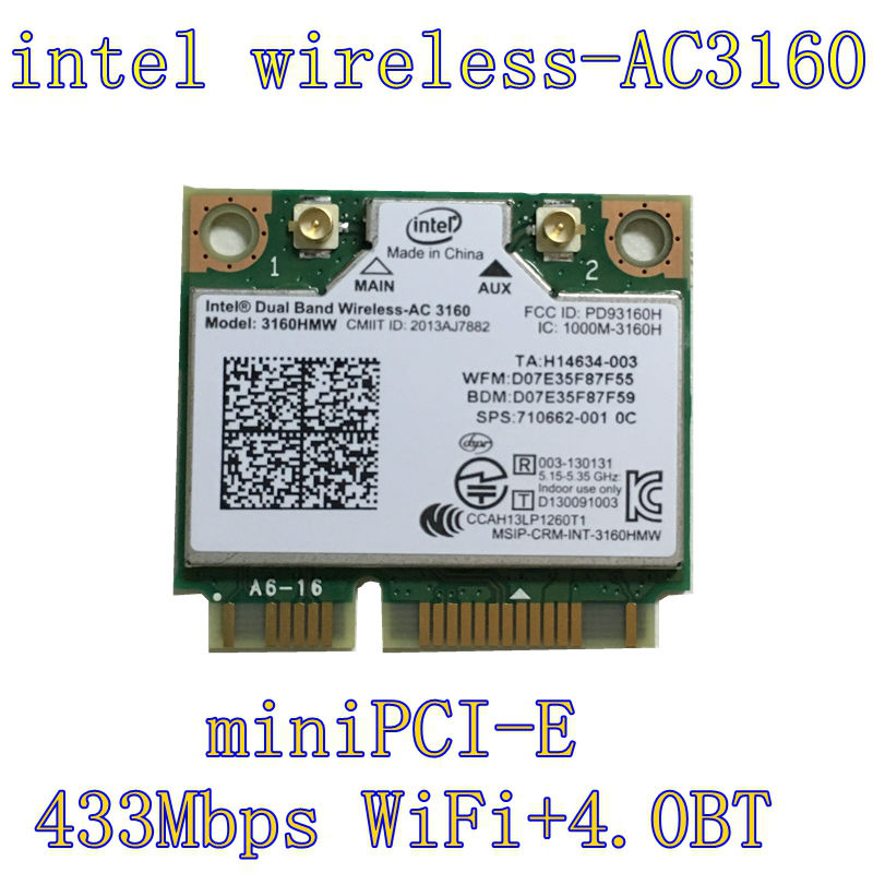 Intel 3160.HMWG.R Dual Band Wireless AC + Bluetooth Mini PCIe card Supports 2.4 and 5.8Ghz B/G/N/AC Bands with Mounting Screws(China (Mainland))