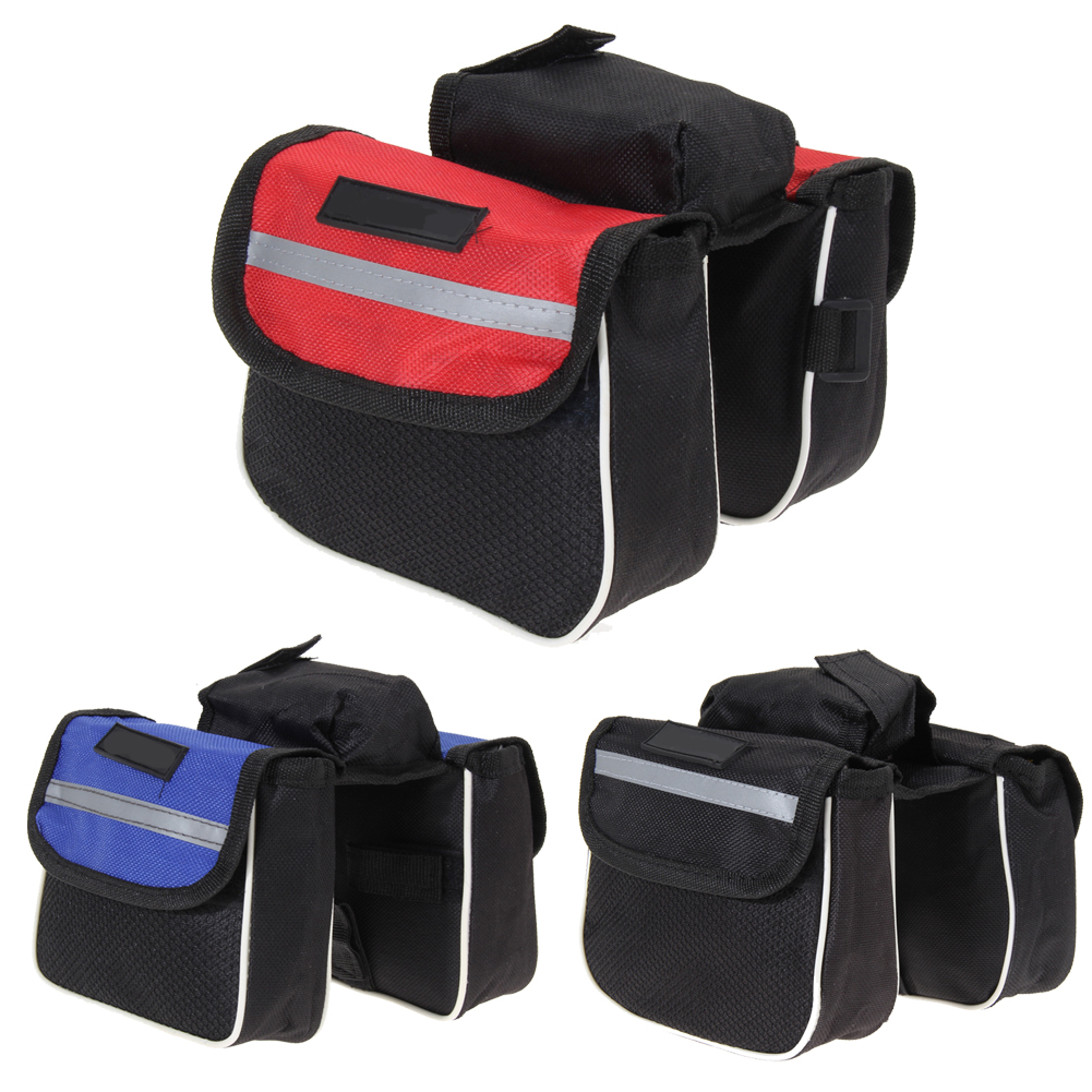 2L Large Capacity Cycling Bicycle Bag Bike Top Frame Front Pannier Saddle Tube Bag With Double Pouch For Phone Towel Stuff US#V(China (Mainland))