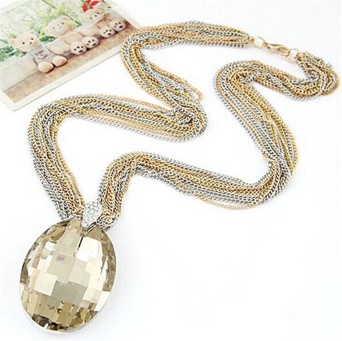 Hot Multilayer Metal Chain Big Acrylic Gem Pendant Choker Necklace Fashion Tassel Statement Jewelry Women 2015 G381 - G-Fashion Mall store