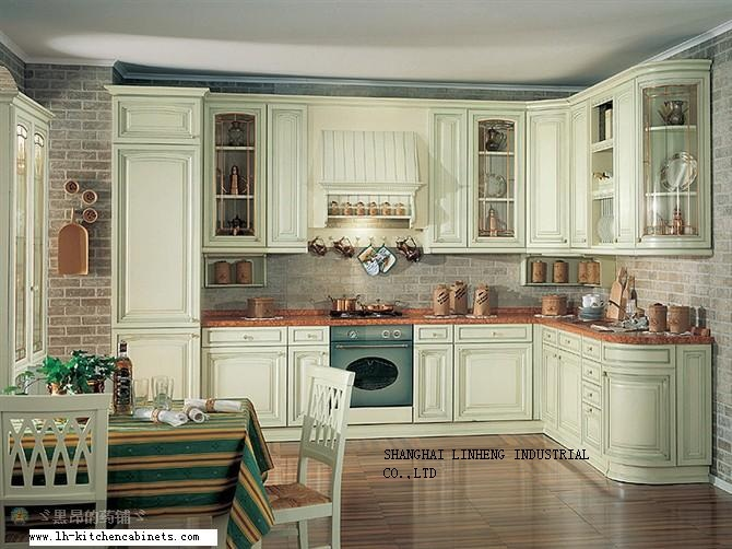 Solid wood european style kitchen cabinet (LH-SW022)(China (Mainland))