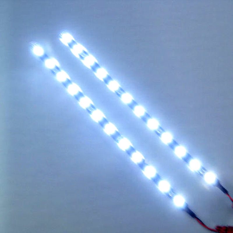 2pcs/lot White Waterproof Lights High Power Car Auto Decor Flexible 30cm LED Strips#EC062(China (Mainland))