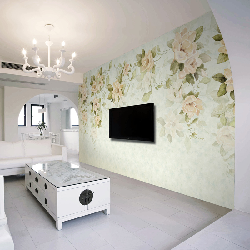 Buy Free Shipping Flower Art Wallpaper Nonwoven Large Mural Living Room Sofa