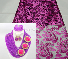 a set (5 yards african purple tulle lace fabric with stones beads match amethyst jewelry set earrings necklace bracelet set)(China (Mainland))