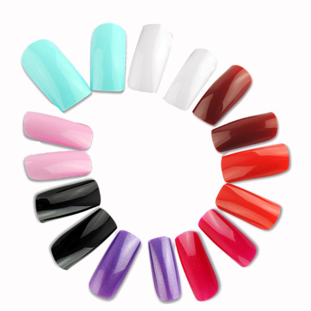 500pcs 10 Sizes French Acrylic Artificial Full Cover False Fake Nails Polish Art Display Nail Tips Faux Decorated Solid Color(China (Mainland))