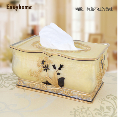 Free shipping best resin material,american style table tissue box,Luxurious desk accessories,elegant Paper Box,paper storage(China (Mainland))