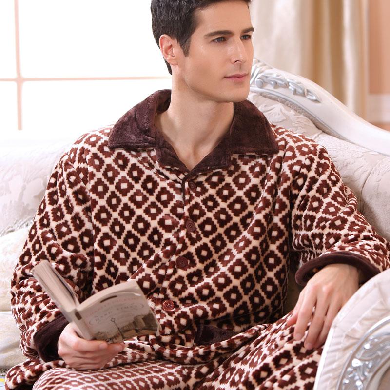 2016 New Modern Men Winter Keep Thermal Anti Cold Coral Fleece Pajamas sets of Sleepcoat & Pants Adult Casual & Warm Home Clothe(China (Mainland))